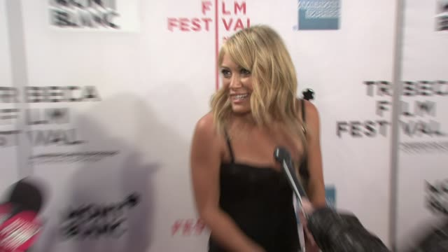 hilary duff on how excited she is for the premiere at the 7th annual tribeca film festival war inc premiere at the borough of manhattan community... - community college stock videos & royalty-free footage