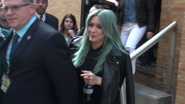 Hilary Duff with green hair leaving The Chew on March 31 2015 in New York City