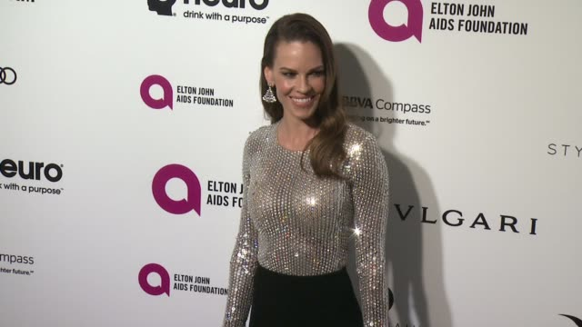 hilary swank at elton john aids foundation presents 24th annual academy awards viewing party on february 28, 2016 in west hollywood, california. - hilary swank stock videos & royalty-free footage