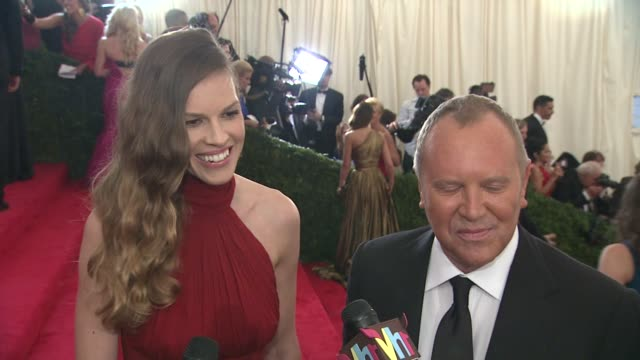 hilary swank at michael kors on tonight being a convergence of fashion sports and politics at schiaparelli and prada impossible conversations costume... - hilary swank stock videos & royalty-free footage