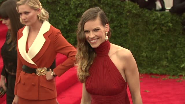 hilary swank at schiaparelli and prada impossible conversations costume institute gala at metropolitan museum of art on may 07 2012 in new york new... - hilary swank stock videos & royalty-free footage