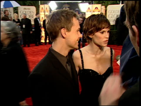 hilary swank at the 2000 golden globe awards at the beverly hilton in beverly hills, california on january 23, 2000. - hilary swank stock videos & royalty-free footage