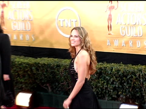 hilary swank at the 2005 screen actors guild sag awards arrivals at the shrine auditorium in los angeles, california on february 5, 2005. - hilary swank stock videos & royalty-free footage