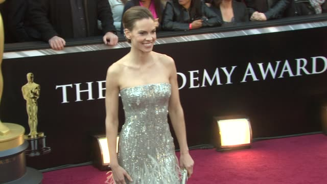 hilary swank at the 83rd annual academy awards - arrivals at hollywood ca. - hilary swank stock videos & royalty-free footage