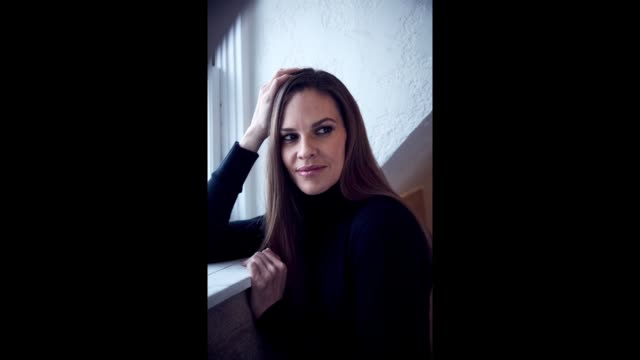 Hilary Swank from the film 'What They Had' poses for a gif in the YouTube x Getty Images Portrait Studio on January 20 2018 in Park City Utah