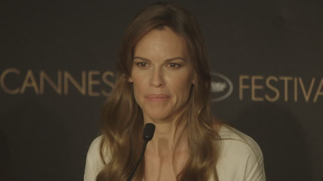 interview hilary swank on doing more romantic films other than tough roles at 'the homesman' press conference at palais des festivals on may 18 2014... - hilary swank stock videos & royalty-free footage