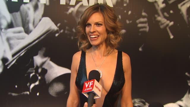 hilary swank on eating a lot and having a good metabolism on why this party is so great on having the pressure off this year but being excited for... - hilary swank stock videos & royalty-free footage