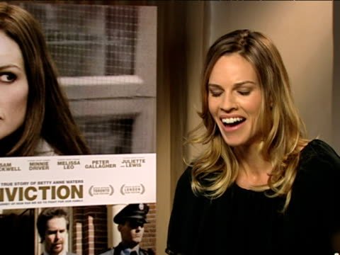 hilary swank on how she could relate to growing up with not much money at the conviction interviews at london england - hilary swank stock videos & royalty-free footage