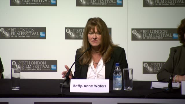 hilary swank on playing a real person on how helpful bettyanne was at the conviction press conference 54th bfi london film festival at london england - hilary swank stock videos & royalty-free footage