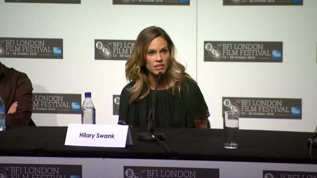 hilary swank on the flawed us judicial system on not believing in death penalty interview minnie driver on now being a parent she can't believe... - minnie driver stock videos and b-roll footage