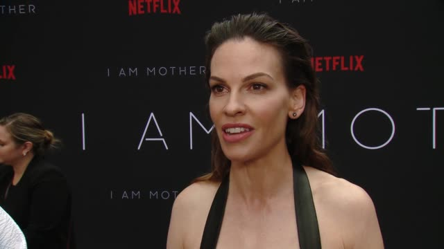 hilary swank on why this story & character made her want to venture into the sci-fi genre, how she would describe her character, talks about some of... - hilary swank stock videos & royalty-free footage