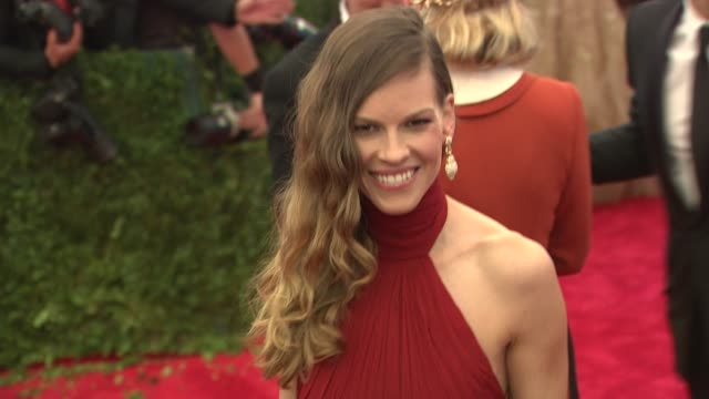 hilary swank schiaparelli and prada impossible conversations costume institute gala at metropolitan museum of art on may 07 2012 in new york new york - hilary swank stock videos & royalty-free footage