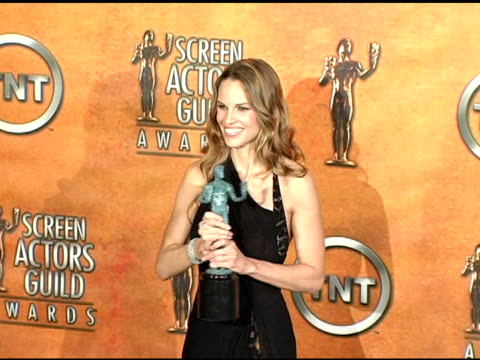 hilary swank, winner for outstanding female actor in a motion picture for 'million dollar baby' at the 2005 screen actors guild sag awards photo room... - hilary swank stock videos & royalty-free footage