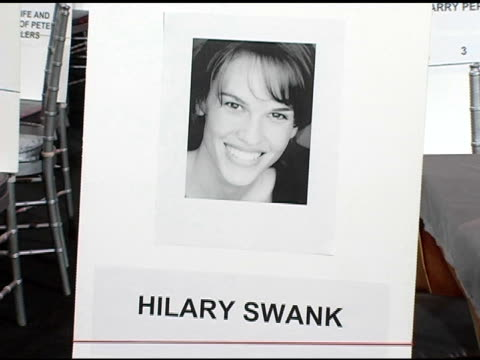 hilary swank's seat card at the 2005 screen actors guild sag awards rehearsals at the shrine auditorium in los angeles, california on february 4,... - hilary swank stock videos & royalty-free footage