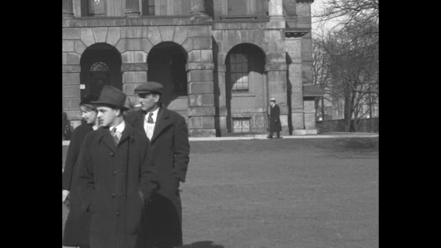 vs hilda and gus graziano outside osgoode hall after making legal claim to bequest in will of wealthy lawyer and financier charles vance millar... - contestant stock videos and b-roll footage