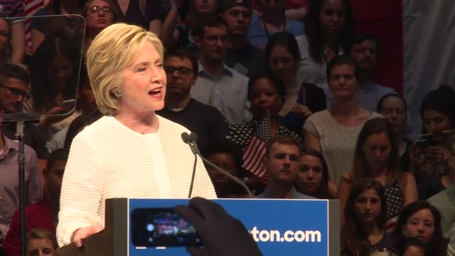 vídeos de stock, filmes e b-roll de hillary clinton addresses the media and a crowd of supporters after winning in new jersey primary and perhaps clinching the democratic nomination - primary election