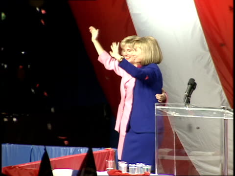 hillary clinton and tipper gore clapping on the stage with the cheering crowd at a rally following bill clinton's victory in the 1992 presidential... - 1992 stock videos & royalty-free footage