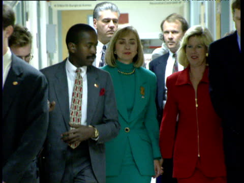 Hillary Clinton and Tippy Gore walk down corridor in Denver hospital 1992