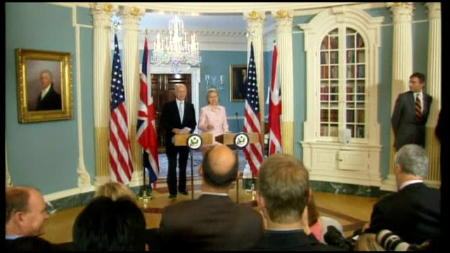 hillary clinton and william hague into room for press conference william hague mp press conference sot - very important for our partners and friends... - politics and government stock videos & royalty-free footage