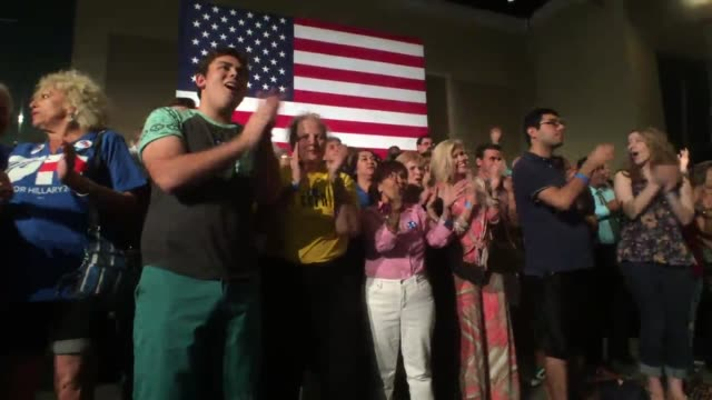 hillary clinton held an event for supporters in west palm beach to watch super tuesday primary results come in entertainers sung while waiting for... - political party stock videos & royalty-free footage