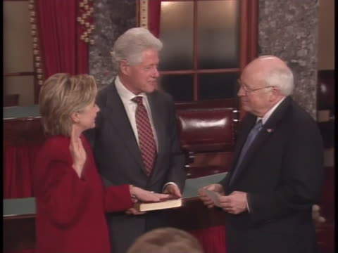 hillary clinton is sworn in as senator of new york by dick cheney. - dick cheney stock videos & royalty-free footage