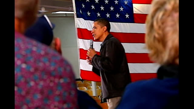 hillary clinton leads polls as likely democratic presidential candidate int barack obama speaking at school rally sot even when the war was popular i... - presidential candidate stock videos & royalty-free footage