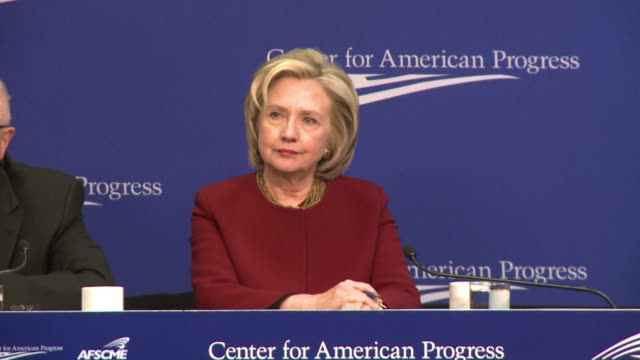 stockvideo's en b-roll-footage met hillary clinton made an appearance with labor leaders monday calling for a non partisan struggle against economic inequality in one of her last... - bod