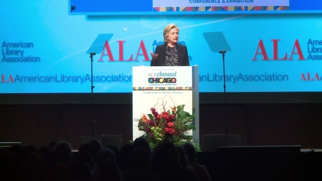 wgn hillary clinton on importance of diverse representation in literature at the american library association conference in chicago on june 27 2017 - 表す点の映像素材/bロール