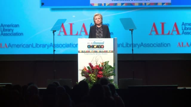 wgn hillary clinton on librarian who saved 6 lives by administering heroin overdose drug at the american library association conference in chicago on... - librarian stock videos & royalty-free footage