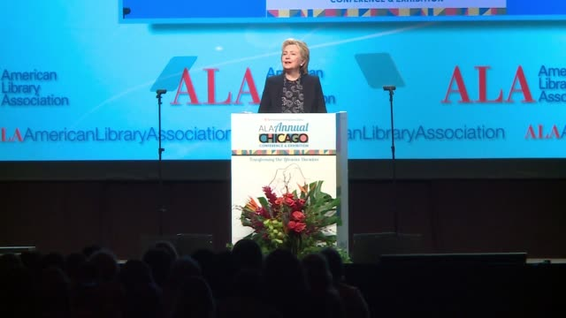 hillary clinton on need for libraries, critical thinkers, media literacy after 2016 election at the american library association conference in... - fake stock videos & royalty-free footage