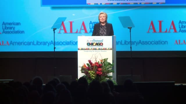 wgn hillary clinton on walking in the woods depending on books to recover after 2016 election loss at the american library association conference in... - 図書館員点の映像素材/bロール