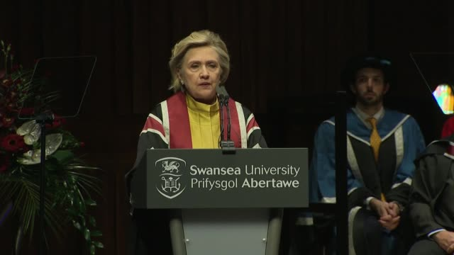 Hillary Clinton presented with honorary doctorate by Swansea University Hillary Clinton speech SOT re Her legal past / working with youth