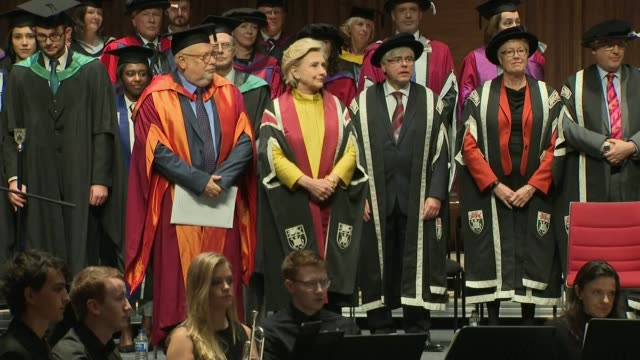 Hillary Clinton presented with honorary doctorate by Swansea University WALES Swansea Swansea University INT Various of former Democratic...