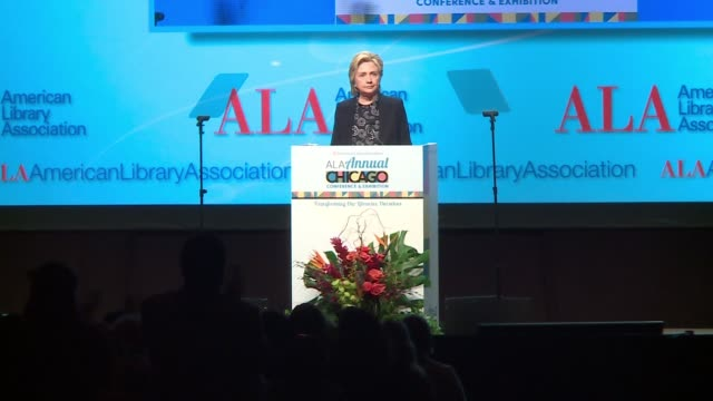 hillary clinton says librarians must help fight to defend truth, reason, evidence, and facts at the american library association conference in... - fake stock videos & royalty-free footage