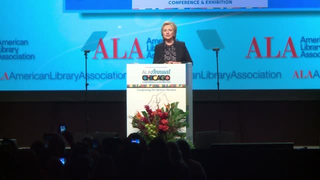 wgn hillary clinton says 'the phrase 'madame president' is still one of my favorites'' at the american library association conference in chicago on... - 図書館員点の映像素材/bロール