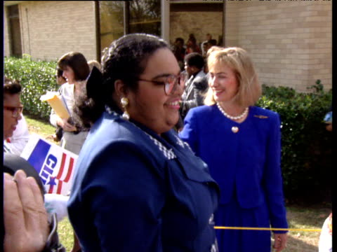 Hillary Clinton shakes hands with voters telling them to vote for her husband Texas USA 1992