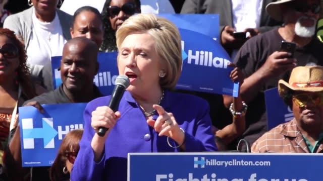 Hillary Clinton speaking at Leimart Park Plaza Monday June 6 Los Angeles Calif Interview Fermin Vasquez Interviews Michael Jules Bryan Yezak...
