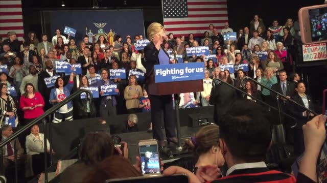 hillary clinton speaks in westchester at a rally to get ready for new york's primary on tuesday april 19 - vorwahl stock-videos und b-roll-filmmaterial