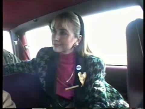 Hillary Clinton speaks to reports in campaign van about Gennifer Flowers