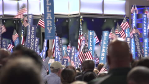 hillary clinton supporters during bernie sanders speech to dnc. - 2016 stock videos & royalty-free footage