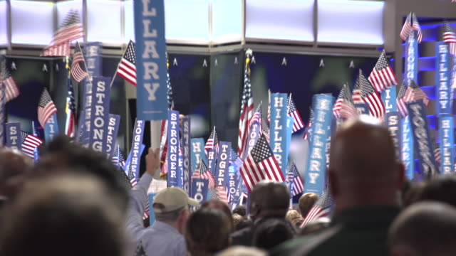 hillary clinton supporters during bernie sanders speech to dnc. - 2016 united states presidential election stock videos & royalty-free footage