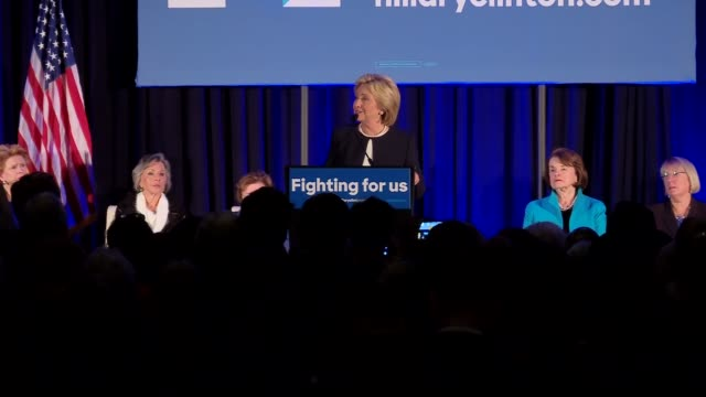 hillary clinton talks about equality and civil rights at event for female democratic senators to provide their endorsement of her - sozialversicherung stock-videos und b-roll-filmmaterial