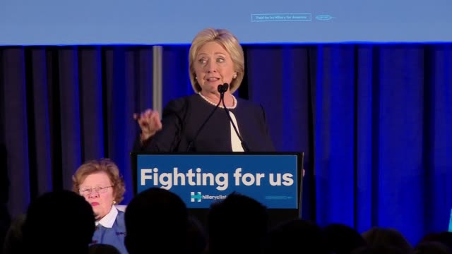 Hillary Clinton talks about the economy at event for female Democratic senators to provide their endorsement of her
