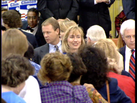 Hillary Clinton talks to people in crowd at political rally Texas USA 14 Oct 92