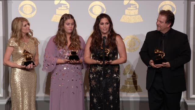 SPEECH Hillary Scott at 59th Annual Grammy Awards Press Room at Staples Center on February 12 2017 in Los Angeles California