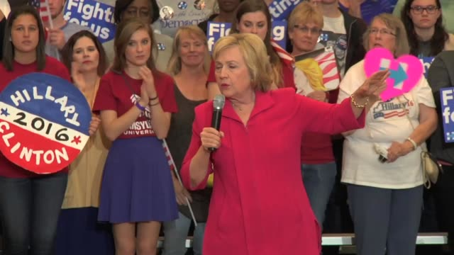 hillary tells a group of college students at a rally on the eve of super tuesday that she is looking forward to debating donald trump, and details... - transylvania stock-videos und b-roll-filmmaterial