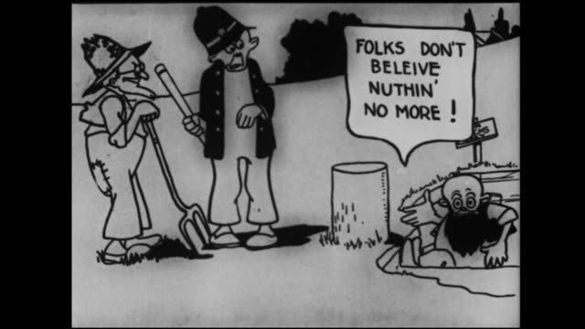 hillbillies knock a bearded man off of a tree stump - ヒルビリー点の映像素材/bロール