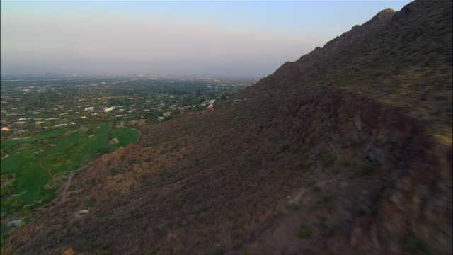 AERIAL, hills and city in distance, Phoenix, Arizona, USA