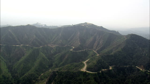 Hills In Griffin Park Leading To Hollywood Sign  - Aerial View - California,  Los Angeles County,  United States