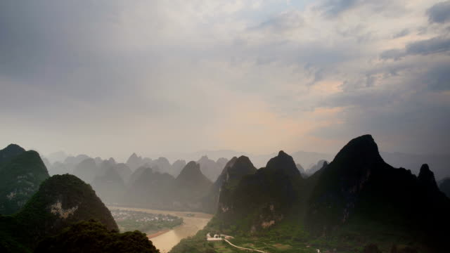 hills of the li river - li river stock videos & royalty-free footage